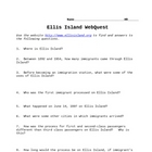 Ellis Island/Immigration WebQuest
