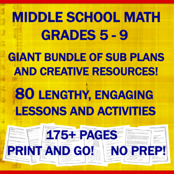 """Middle School Math """"NO PREP"""" Printables: Emergency Sub Plans for One Week+"""