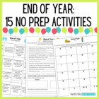 End of Year Activities: 8 worksheets