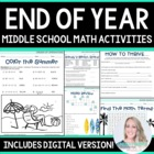 End of Year Math Activities for Middle School