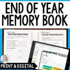 End of Year Middle School Math Memories and Review Booklet