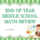 End of Year Middle School Math Review / Exam ~ Common Core