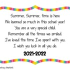 End of Year Poem for Student Gifts