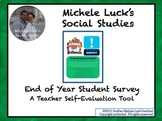 End of Year Student Survey Exit Slip for Teacher Self-Evaluation