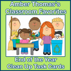 End of the School Year Kids Clean Up Task Cards
