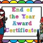 Editable End of the Year Award Certificates- small rainbow