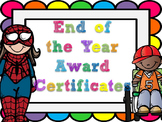 Editable End of the Year Award Certificates- rainbow bubbl