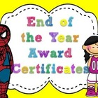 End of the Year Award Certificates- yellow puffy border