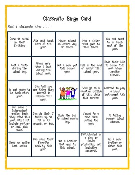 End of the Year Classmate Bingo