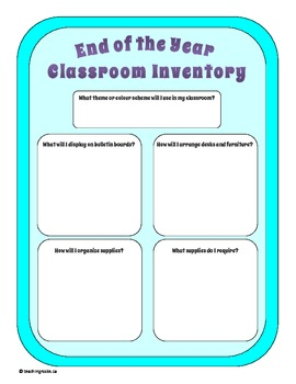End of the Year Classroom Inventory