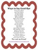 End of the Year -FREE- Ways to Say Good-Bye