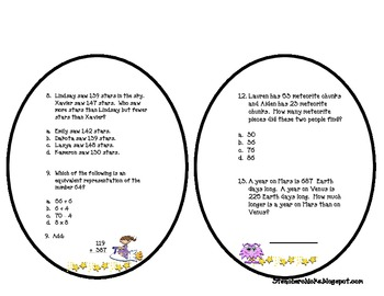 End of the Year Math Review Solar SystemTheme Booklet
