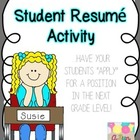 "End of the Year Writing, Student ""Resume"" Writing for New Teacher"