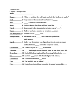 Ender's Game Chapter 4 Study Guide and Answer KEY