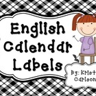 English Calendar Labels