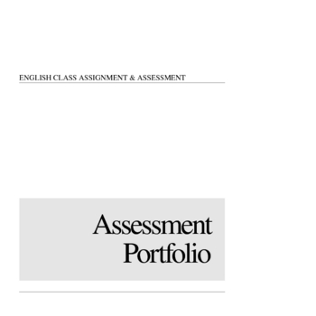 English Class Assessment Portfolio