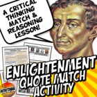 Enlightenment Thinkers Quote Match Activity
