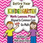Go Math Common Core Lesson Plans K Kindergarten Entire Yea