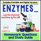 Enzymes, Catalysts, Chemical Reactions of Cells Homework /