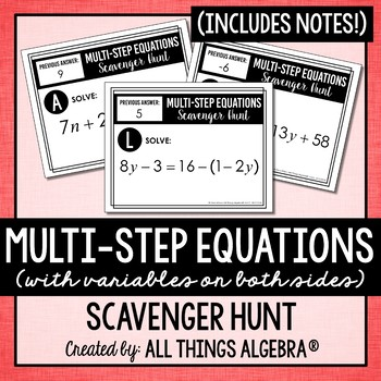 Equations Scavenger Hunt (Multi-Step with Variables on Both Sides)