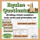 Equine Quotients - dividing whole numbers task cards & pri