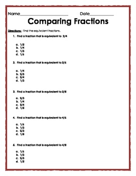 Equivalent Fractions: Multiple Choice Quiz