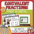 Equivalent Fractions Task Cards: 32 Multiple Choice Cards