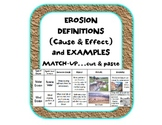 Erosion & Deposition definitions (cause & effect), example