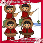 Eskimos Boys Clipart-Black Hair