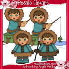 Eskimos Boys Clipart-Brown Hair