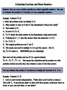 Estimating Fractions and Mixed Numbers Practice Sheets