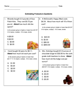 Estimating Products & Quotients