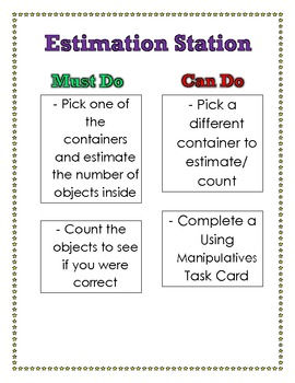 Estimation Station Math Center Poster