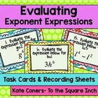 Evaluating Exponent Expressions Task Cards & Record Sheets