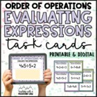 Evaluating Expressions, Order of Operations Task Cards Com