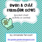 Even and Odd Number Sort {pocket chart activity or center}