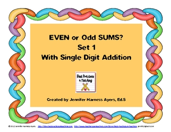 Even and Odd Sums Set 1 (Doubles as Task Cards and a Scoot Game!)