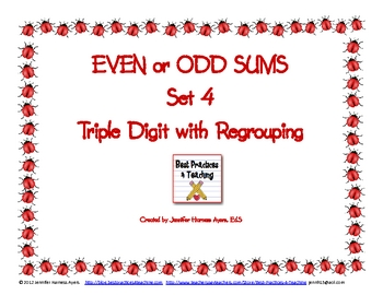 Even and Odd Sums Set 4 (Doubles as Task Cards and a Scoot Game!)