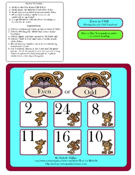 Even or Odd Numbers!  - Monkey File Folder Game