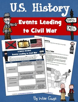 Events Leading to Civil War Worksheet Activity Common Core