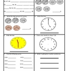 Everyday Math 2nd Grade. Math Box Review/Quiz Pages Unit 1