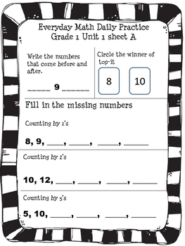 Everyday Math Grade 1 Unit 1 Reviews