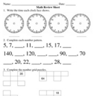 Everyday Math, Grade 3, Unit 1 Review Worksheet #3