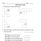 Everyday Math, Grade 3, Unit 1 Review Worksheet #6