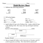 Everyday Math, Grade 3, Unit 2 Review Worksheet #2