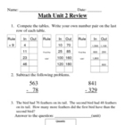 Everyday Math, Grade 3, Unit 2 Review Worksheet