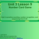 Everyday Math Kindergarten 3.9 Number Card Game