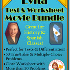 Evita Movie Bundle -- Cloze Worksheet AND Questions Set