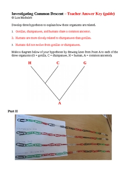 Evolution Investigating Common Descent Laboratory Lesson Plan