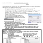 Excel Self Checking activity Sheet